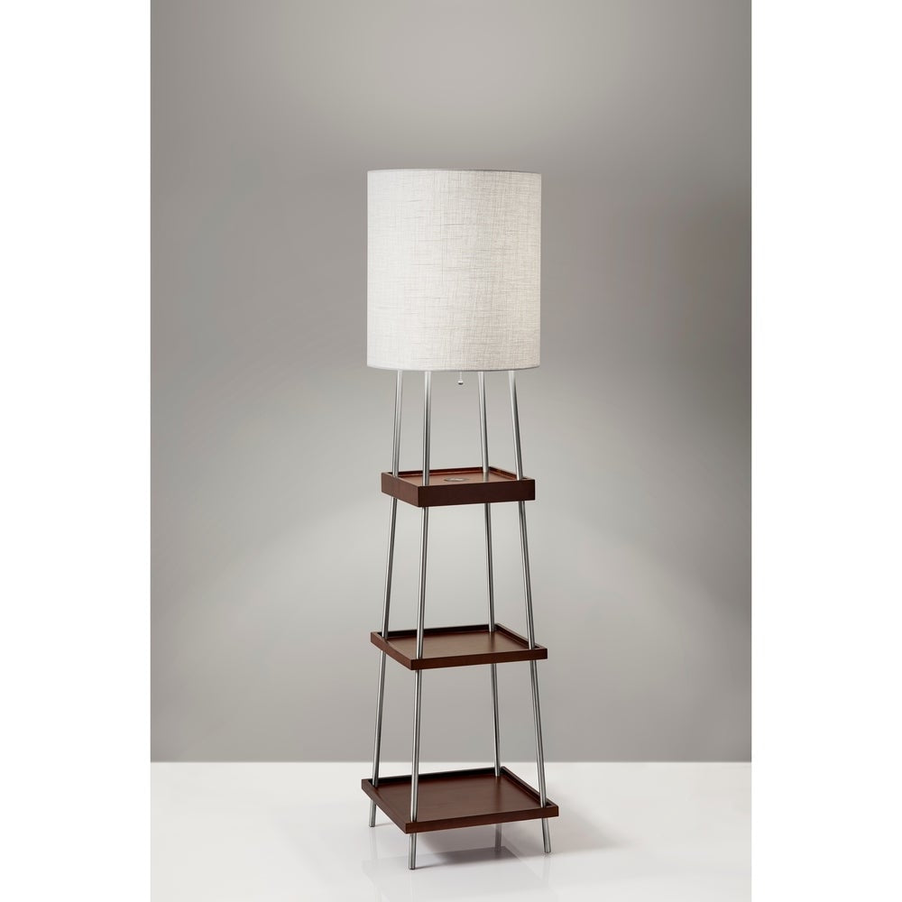 Adesso Henry Brushed Steel and Walnut Poplar Wood Shelf Floor Lamp with AdessoCharge wireless charging pad - RoomsandDecor.com
