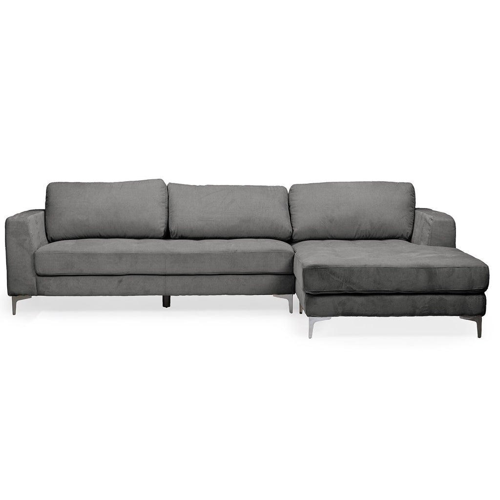 Contemporary Charcoal Fabric Right Facing Sectional Sofa - RoomsandDecor.com