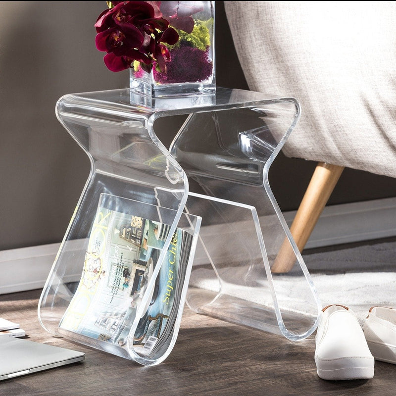 Alec Acrylic Stool/ End Table - RoomsandDecor.com