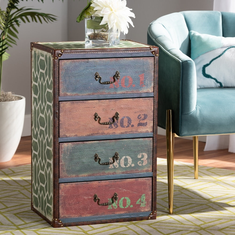 Vintage Rustic French Inspired 4-Drawer Accent Storage Chest
