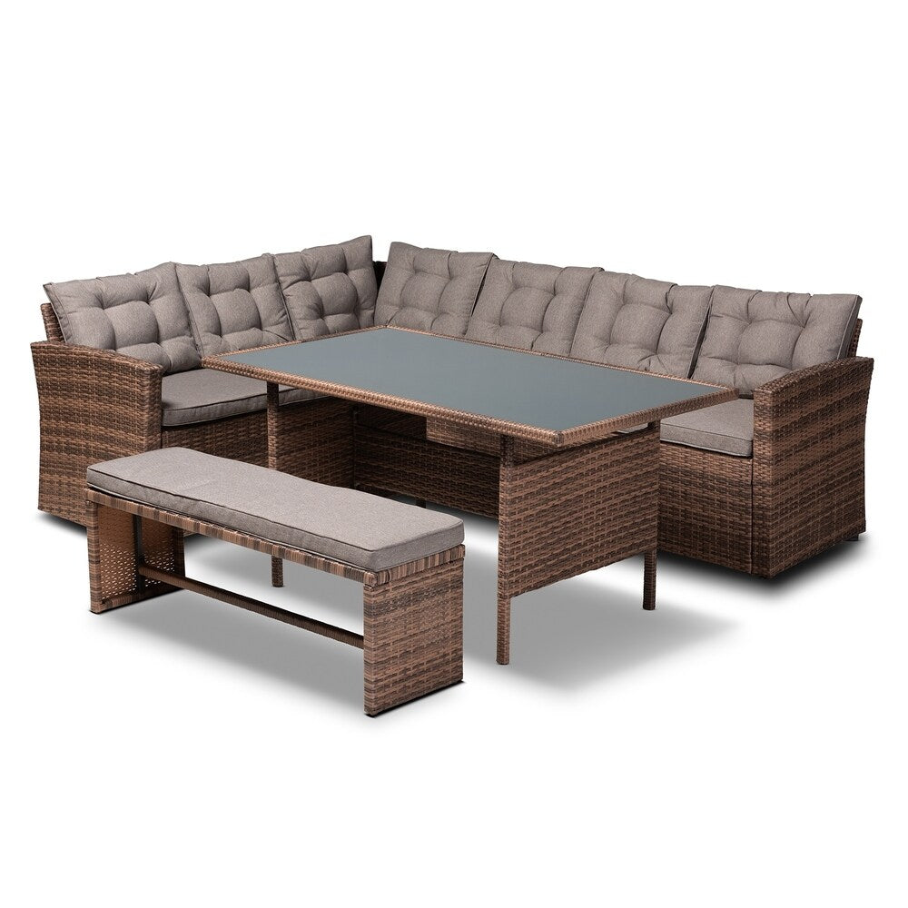 Angela Modern and Contemporary 4-Piece Outdoor Sectional Set
