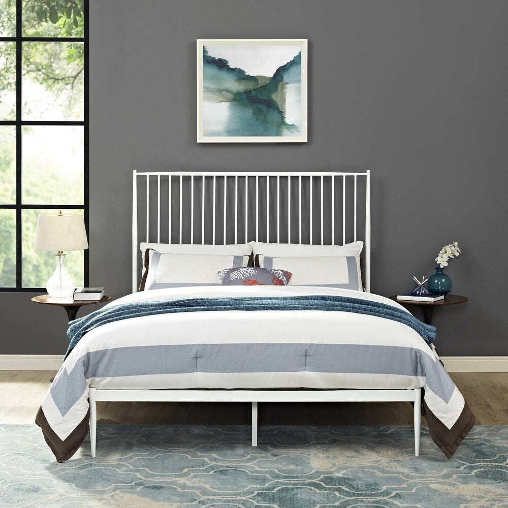 Annika Queen Farmhouse-style Platform Bed - White