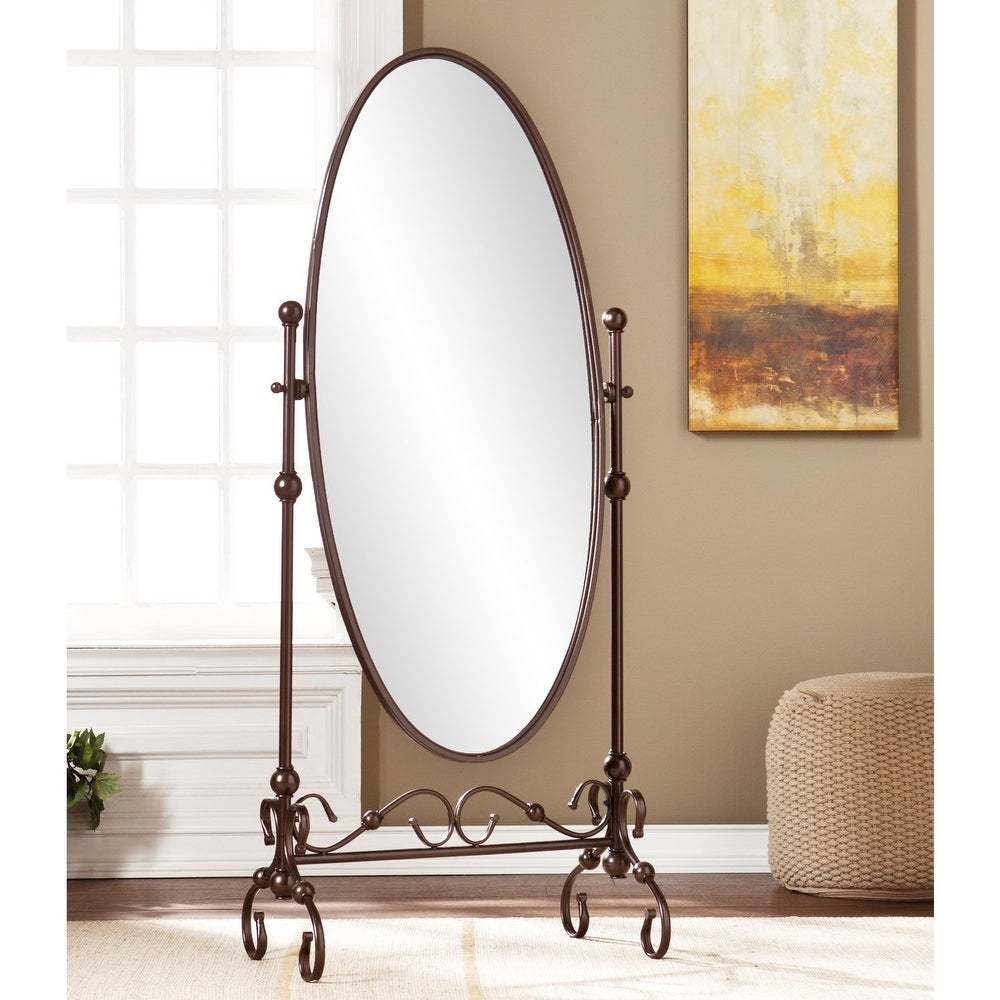Antique Bronze Finish Metal Cheval Floor Mirror - RoomsandDecor.com