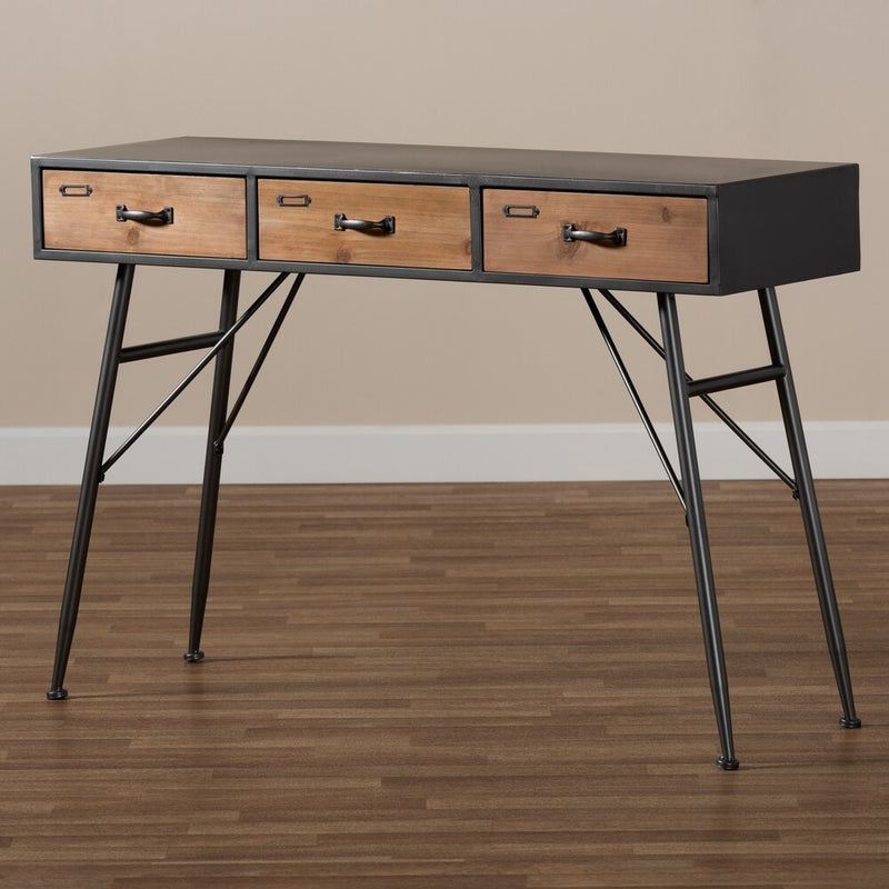 Ariana Modern and Contemporary Industrial 3-Drawer Console Table