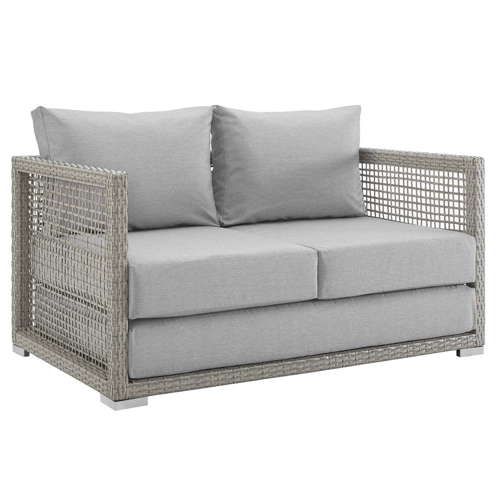 Aura Outdoor Patio Wicker Rattan Loveseat - gray navy