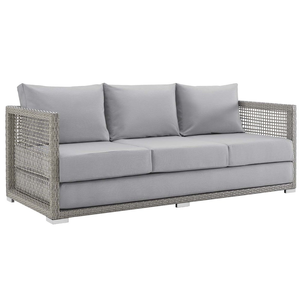 Aura Outdoor Patio Wicker Rattan Outdoor Sofa - gray white - Sofa