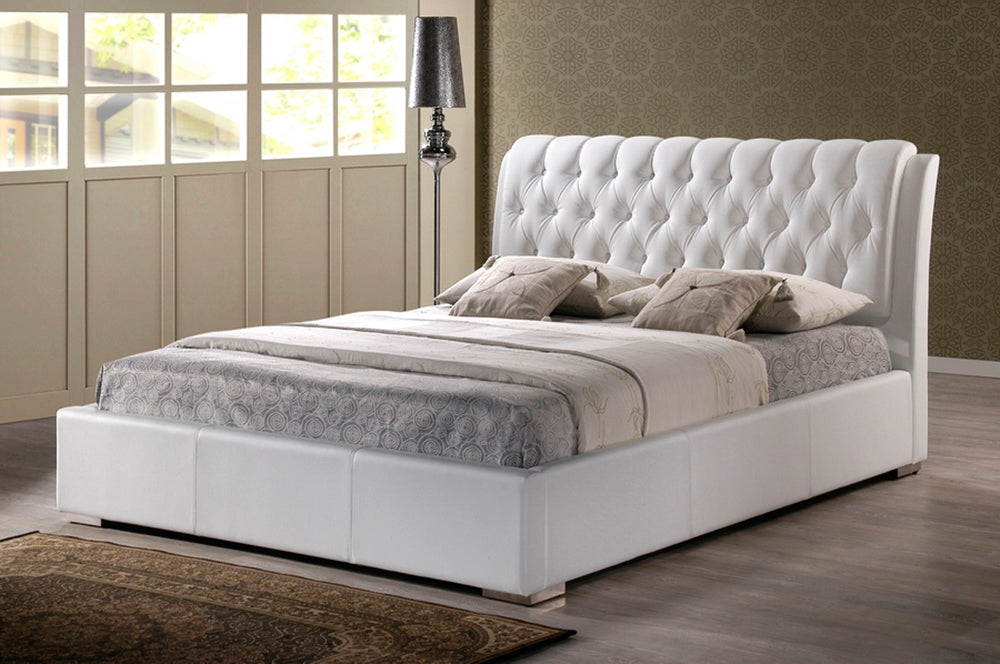 Piedmont Contemporary Faux Leather Queen Bed - RoomsandDecor.com