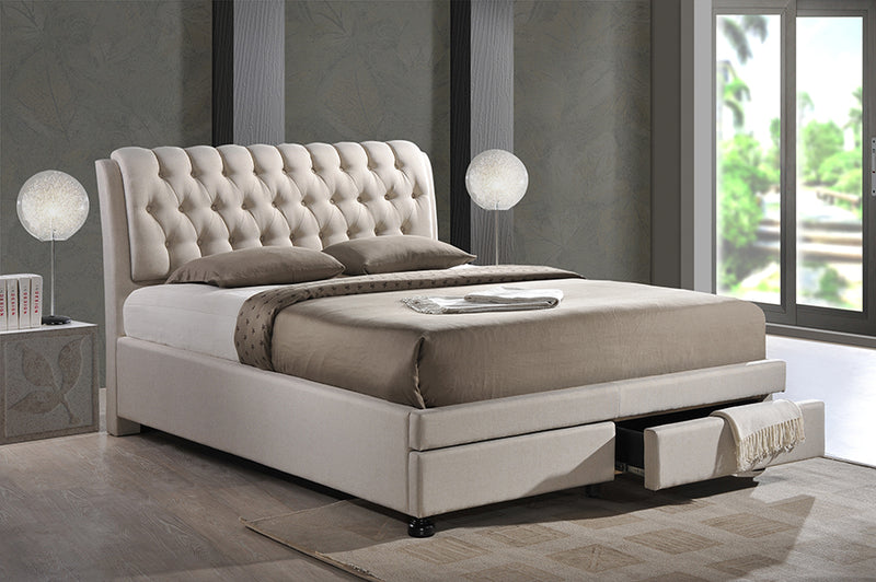 Button-tufted Fabric 2-drawer Storage Bed - RoomsandDecor.com