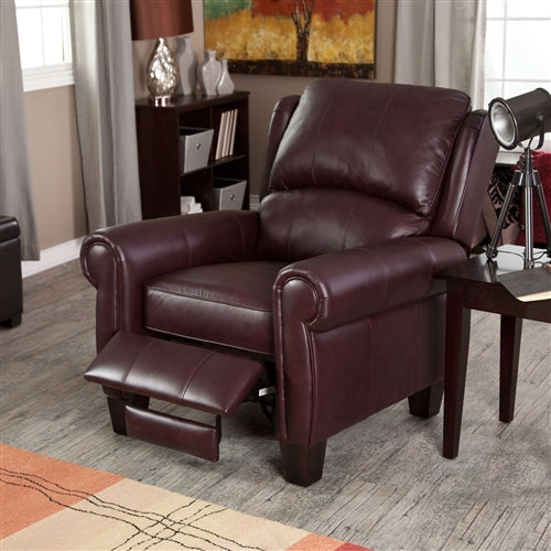 Top-Grain Leather Wing-back Club Chair Recliner - RoomsandDecor.com