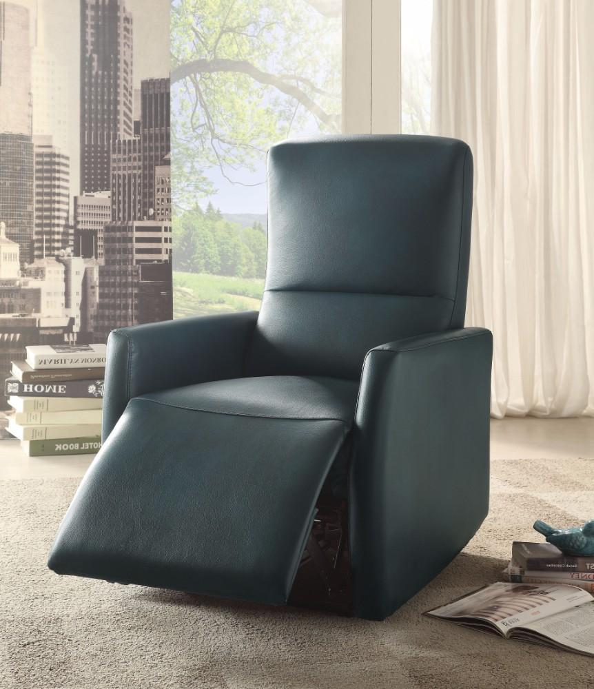 Raff Recliner (Power Motion), Blue Leather-Aire - RoomsandDecor.com