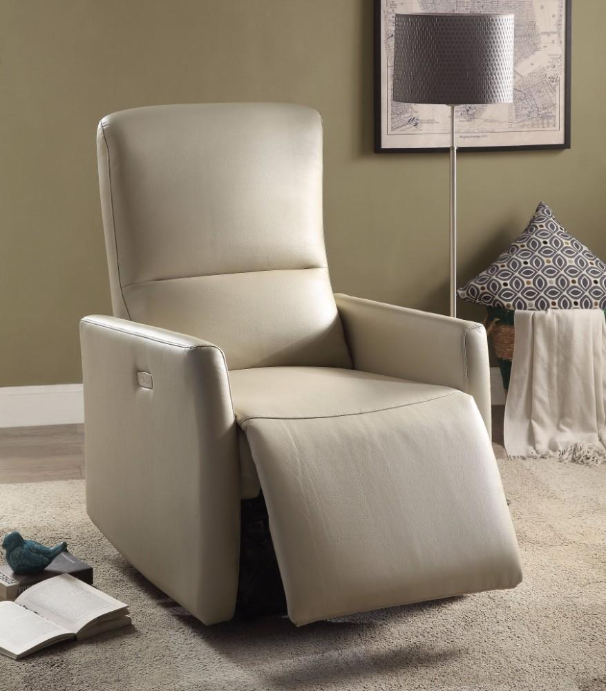 Raff Recliner (Power Motion), Beige Leather-Aire - RoomsandDecor.com