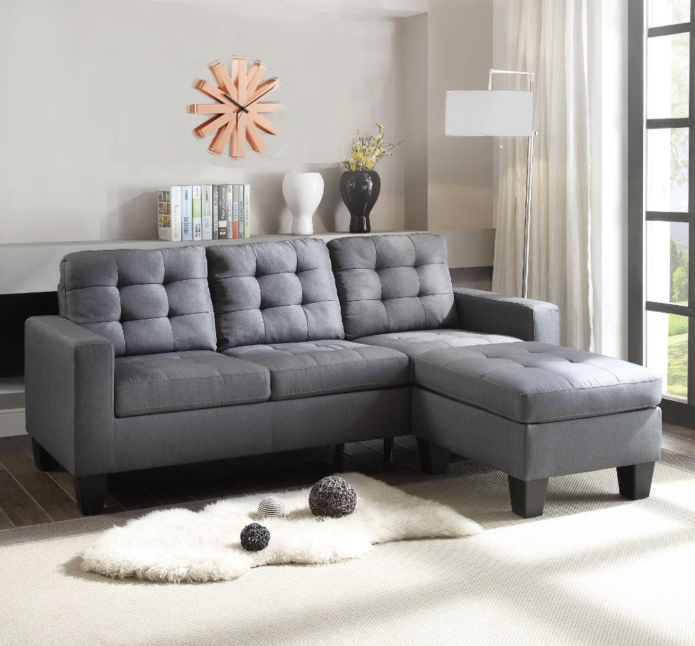 Bethaney Refined Sectional Sofa, Gray Linen