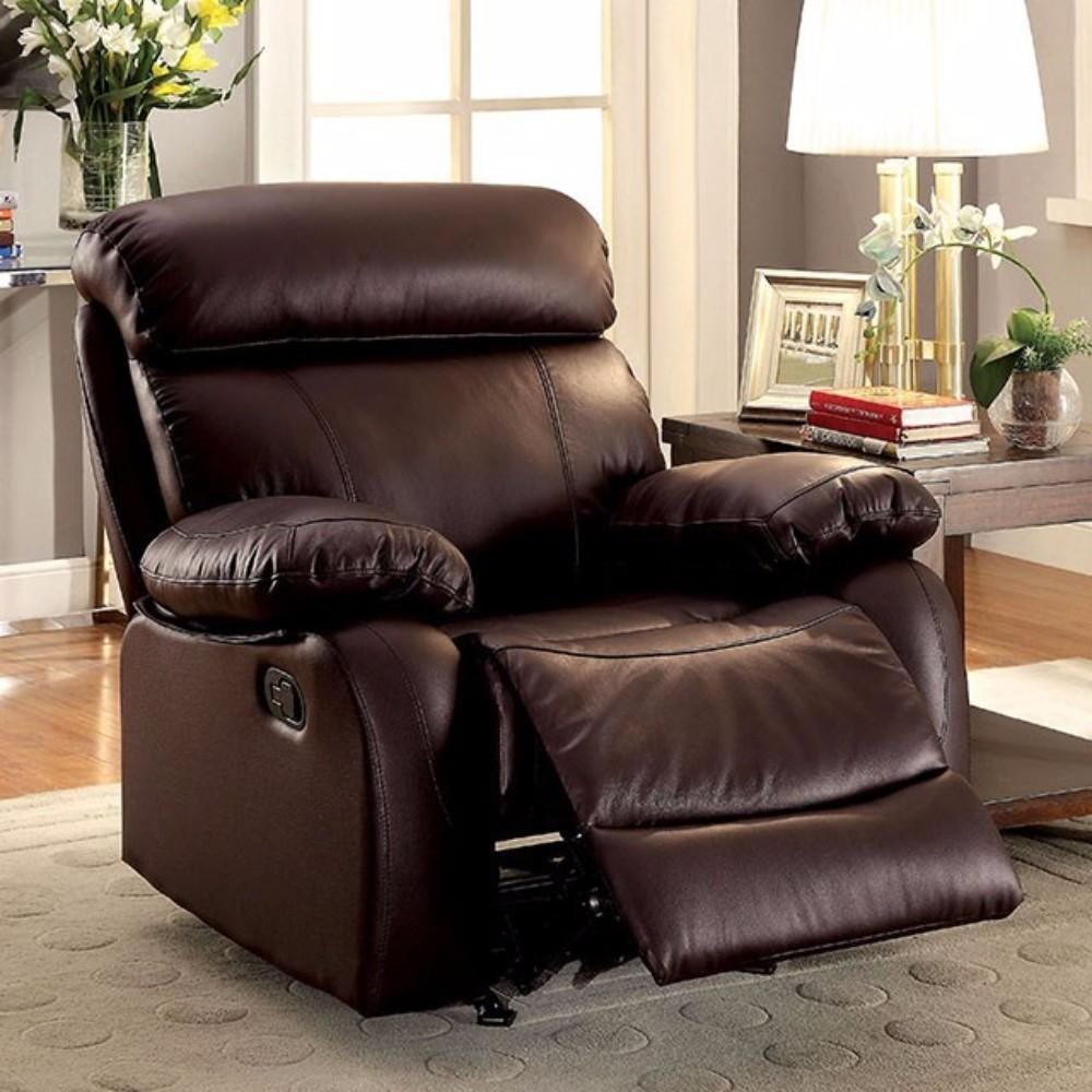 Leatherette Glider Recliner Chair