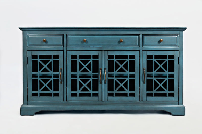 "Wooden 60"" Media Unit With 3 Drawers And 4 Doors, Antique Blue"