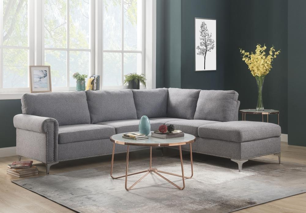 Ian Fabric Upholstered Wooden Sectional Sofa