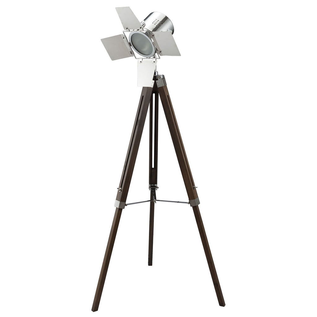 Spotlight Metal Floor Lamp with Wooden Tripod Base