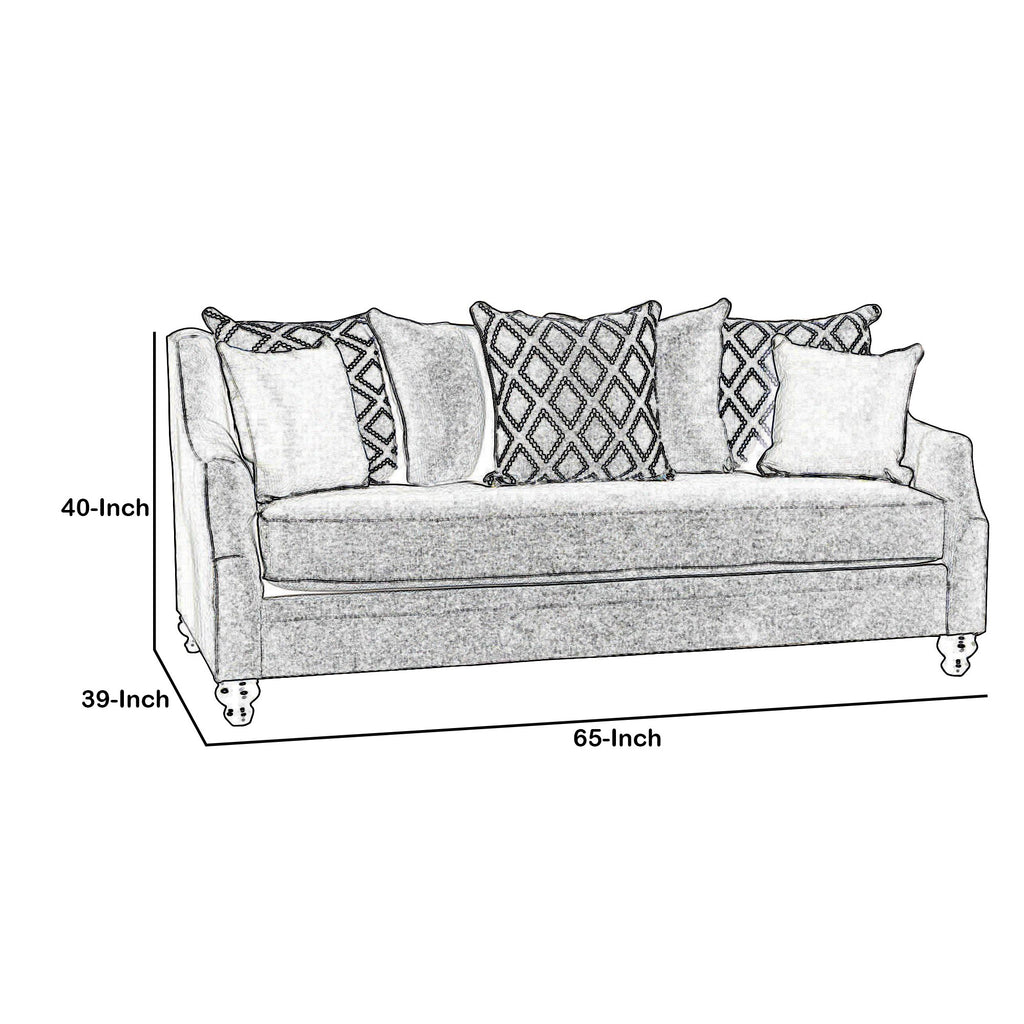 Fabric Upholstered Wooden Loveseat