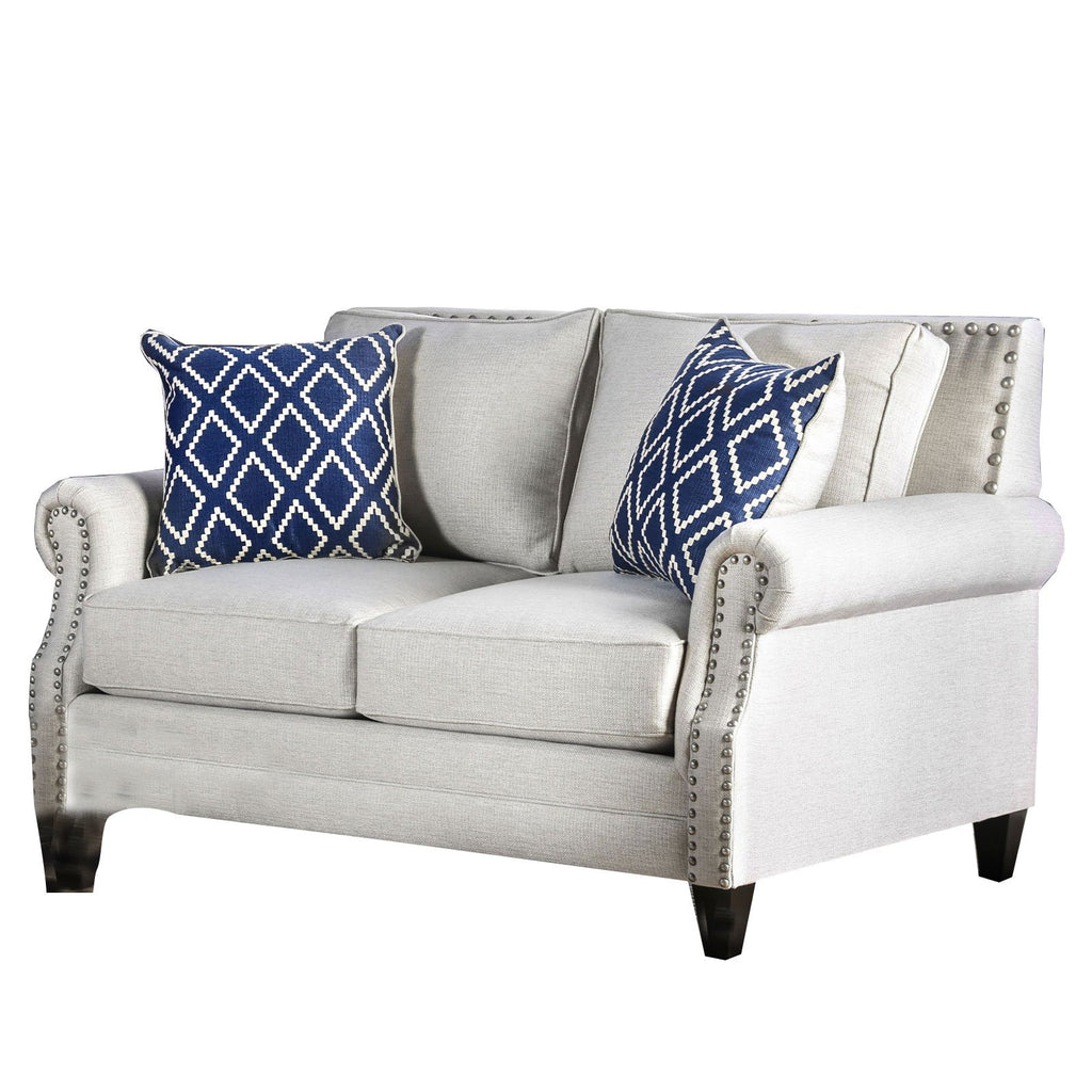 Corliss Fabric Upholstered Wooden Loveseat