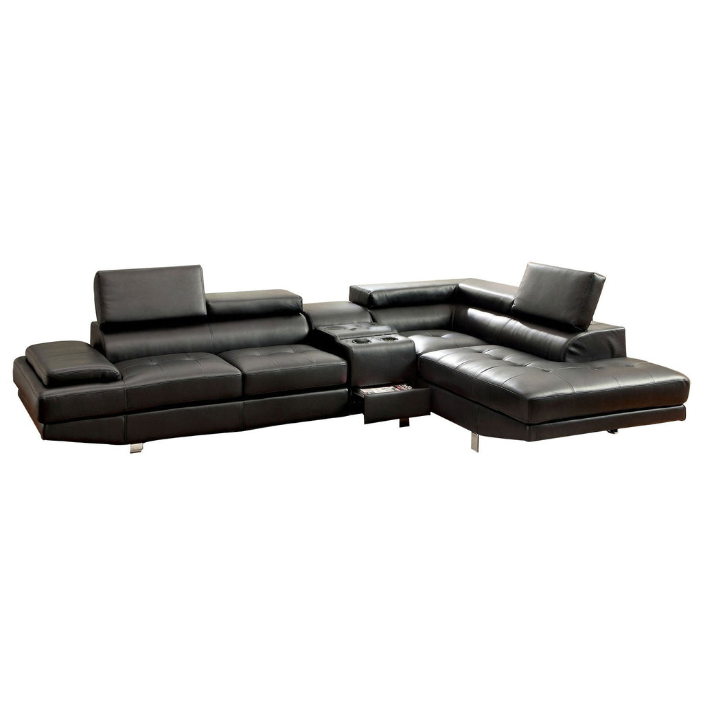 Optimus Faux Leather Upholstered Sectional Sofa