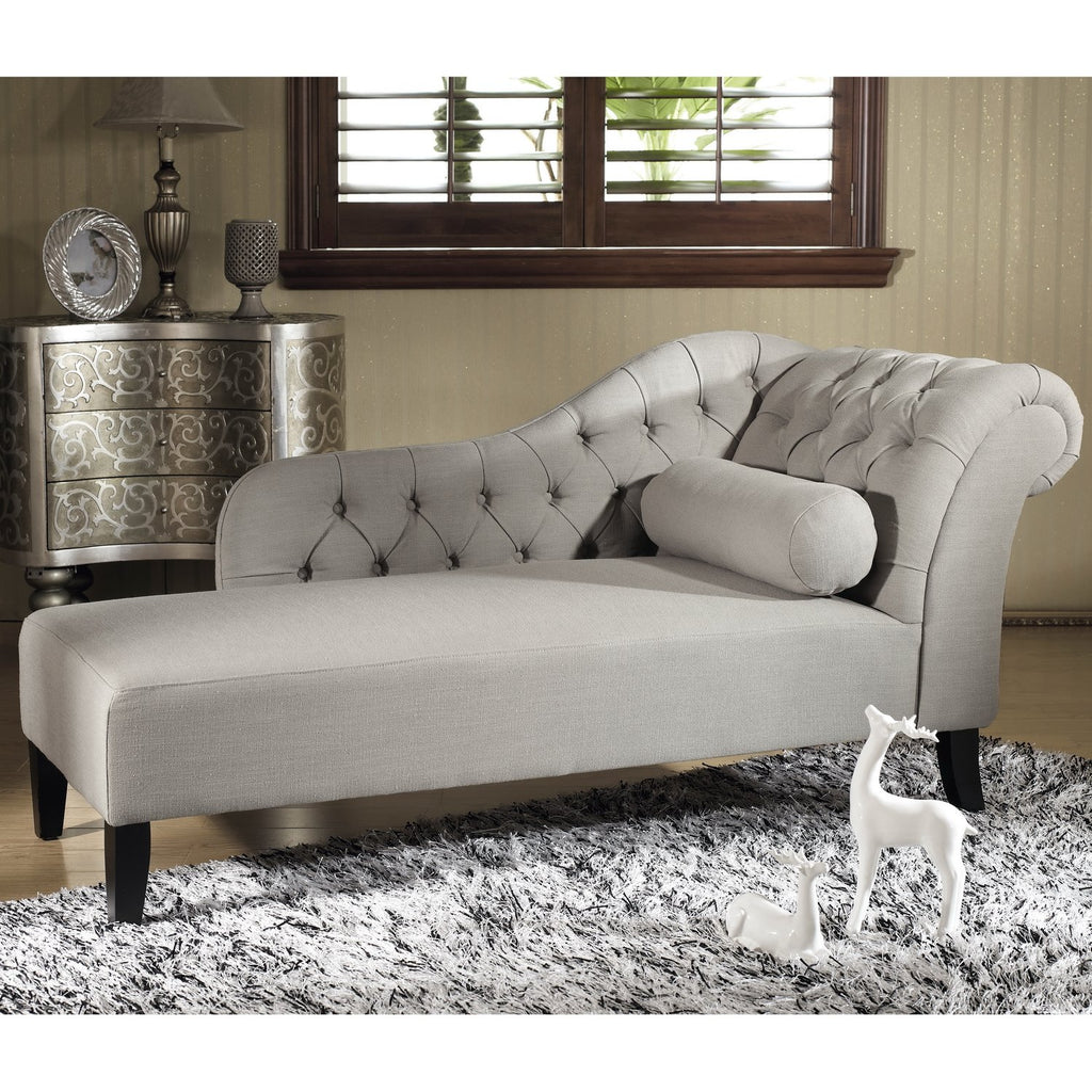 Putty Gray Linen Modern Chaise Lounge - RoomsandDecor.com