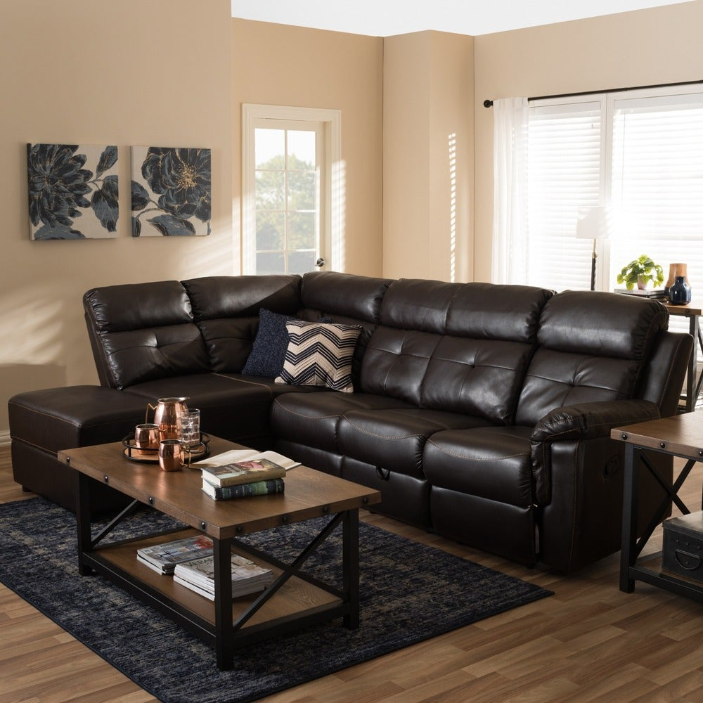 Chaos Modern and Contemporary Dark Brown Faux Leather 2-Piece Sectional with Recliner and Storage Chaise - RoomsandDecor.com