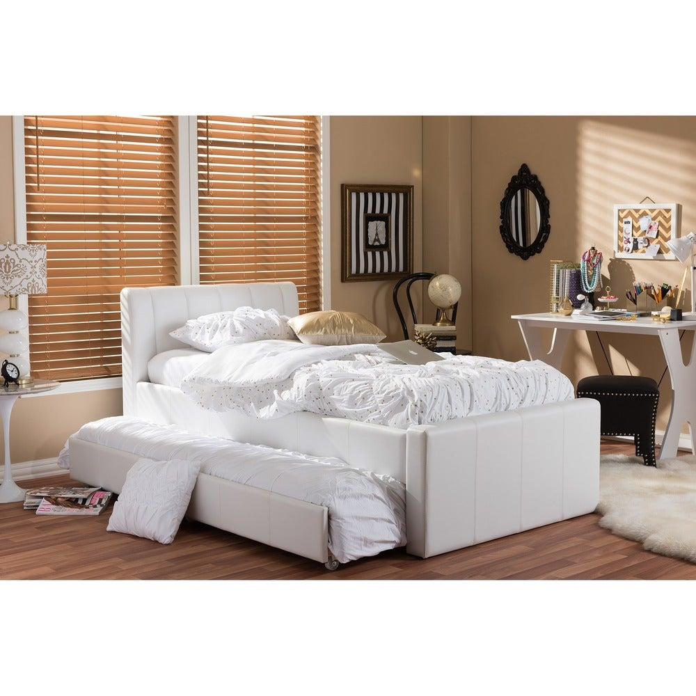 Cosmo Modern and Contemporary White Faux Leather Daybed - RoomsandDecor.com