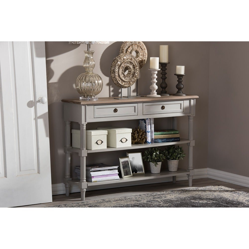 White Wash Distressed Two-Tone 2-Drawer Console Table - RoomsandDecor.com