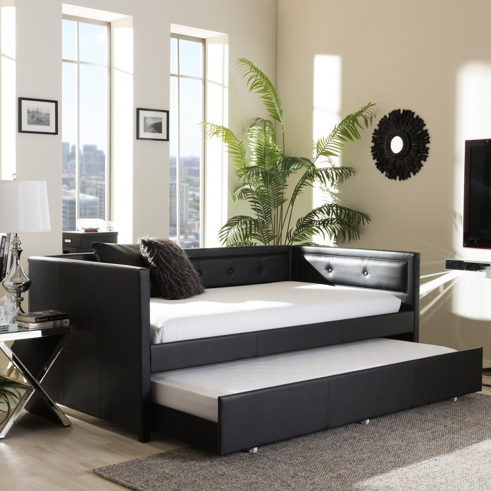 Faux Leather Button Tufted Daybed with Trundle - RoomsandDecor.com