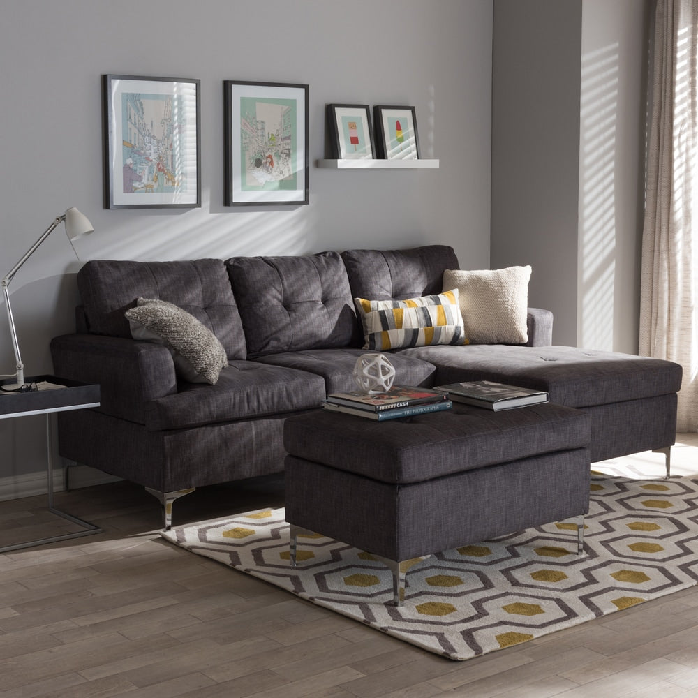 Haemon Modern and Contemporary Grey Fabric Upholstered 3-Piece Sectional Sofa with Ottoman Set - RoomsandDecor.com