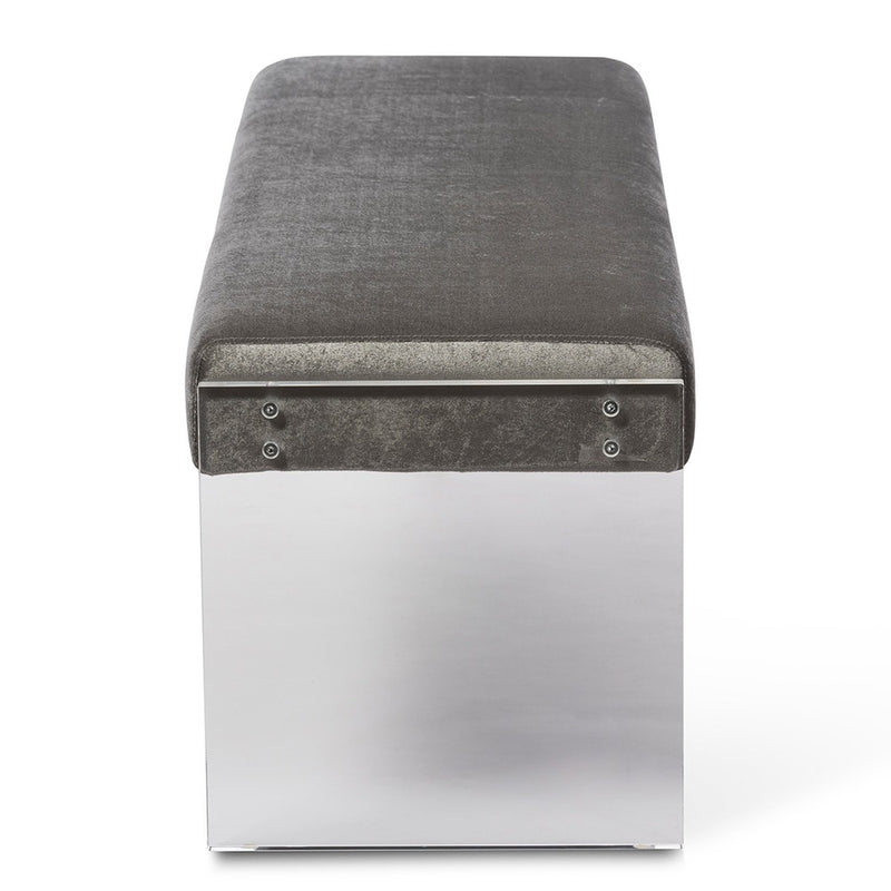 Hildon Contemporary Grey Microsuede Bench with Acrylic Legs - RoomsandDecor.com