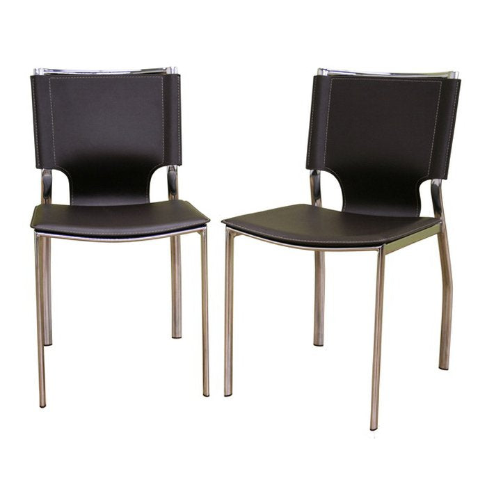Montclare Brown Leather Modern Dining Chairs (Set of 2) - RoomsandDecor.com