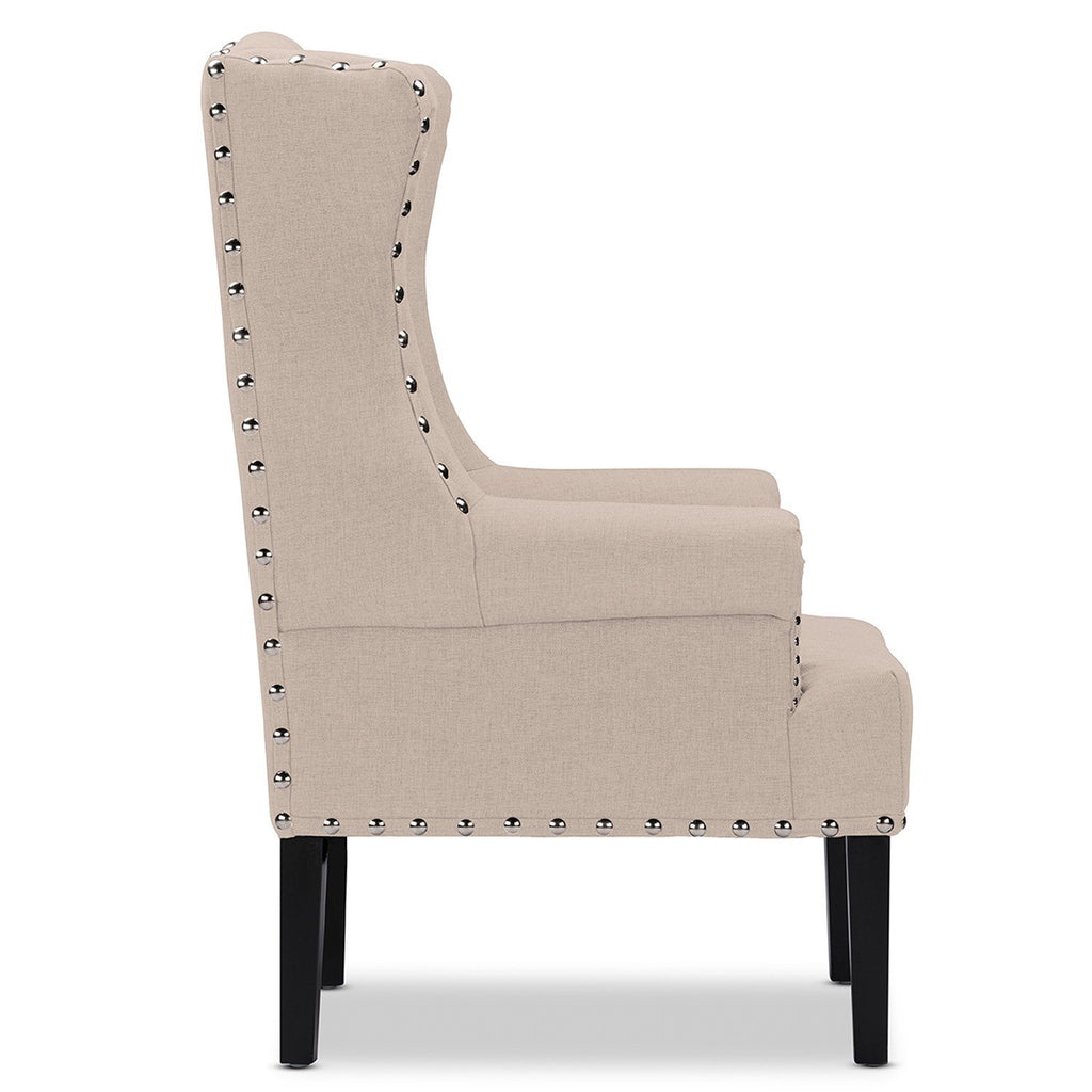 Patterson Wingback Beige Tufted Accent Chair - RoomsandDecor.com