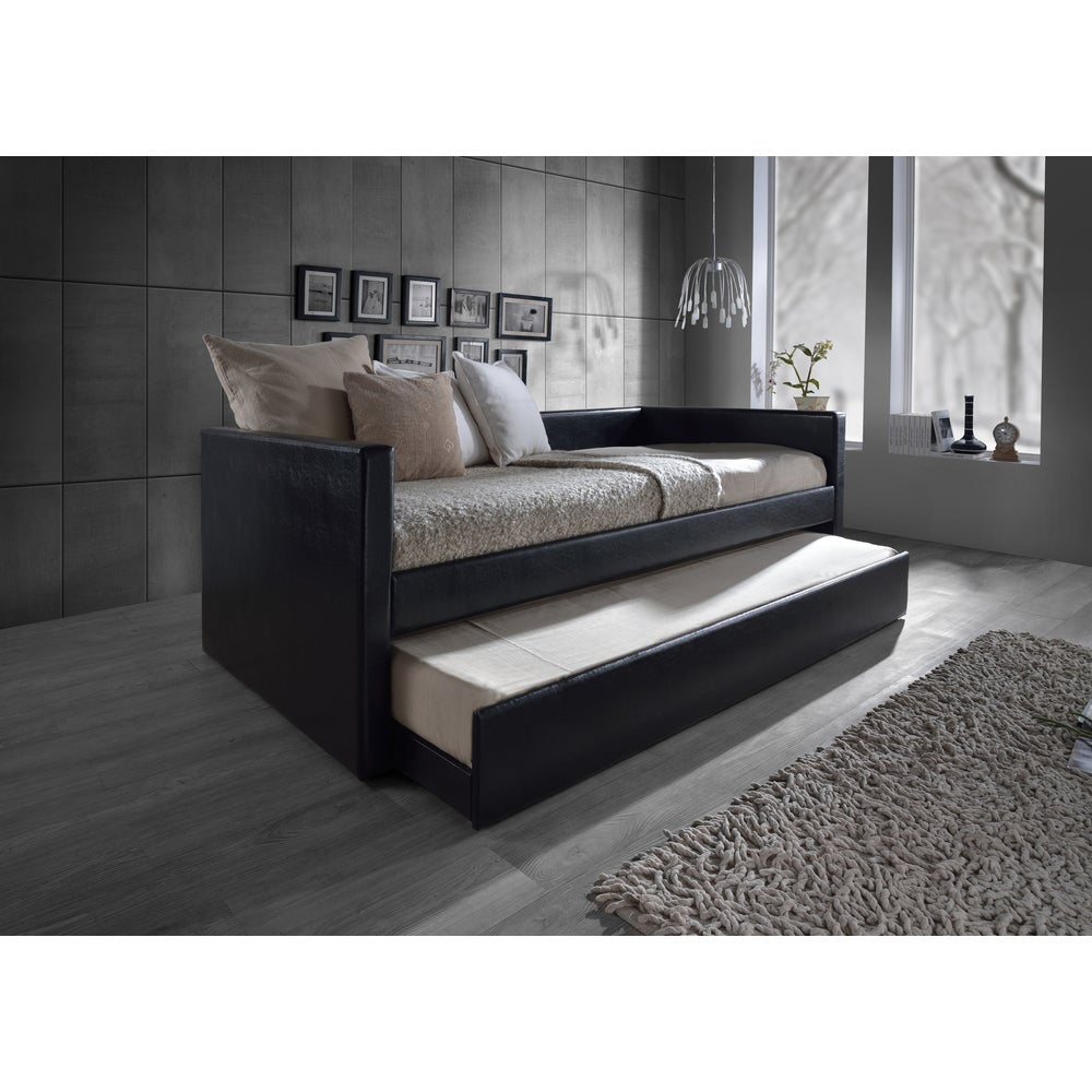 Risom Contemporary Black Twin-size Platform Base Faux Leather Upholstered Daybed Bed Frame with Trundle - RoomsandDecor.com