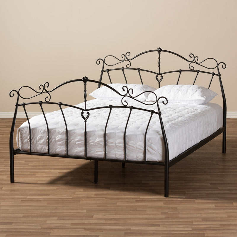 Semele Antique Bronze Finished Metal Platform Queen Bed - RoomsandDecor.com