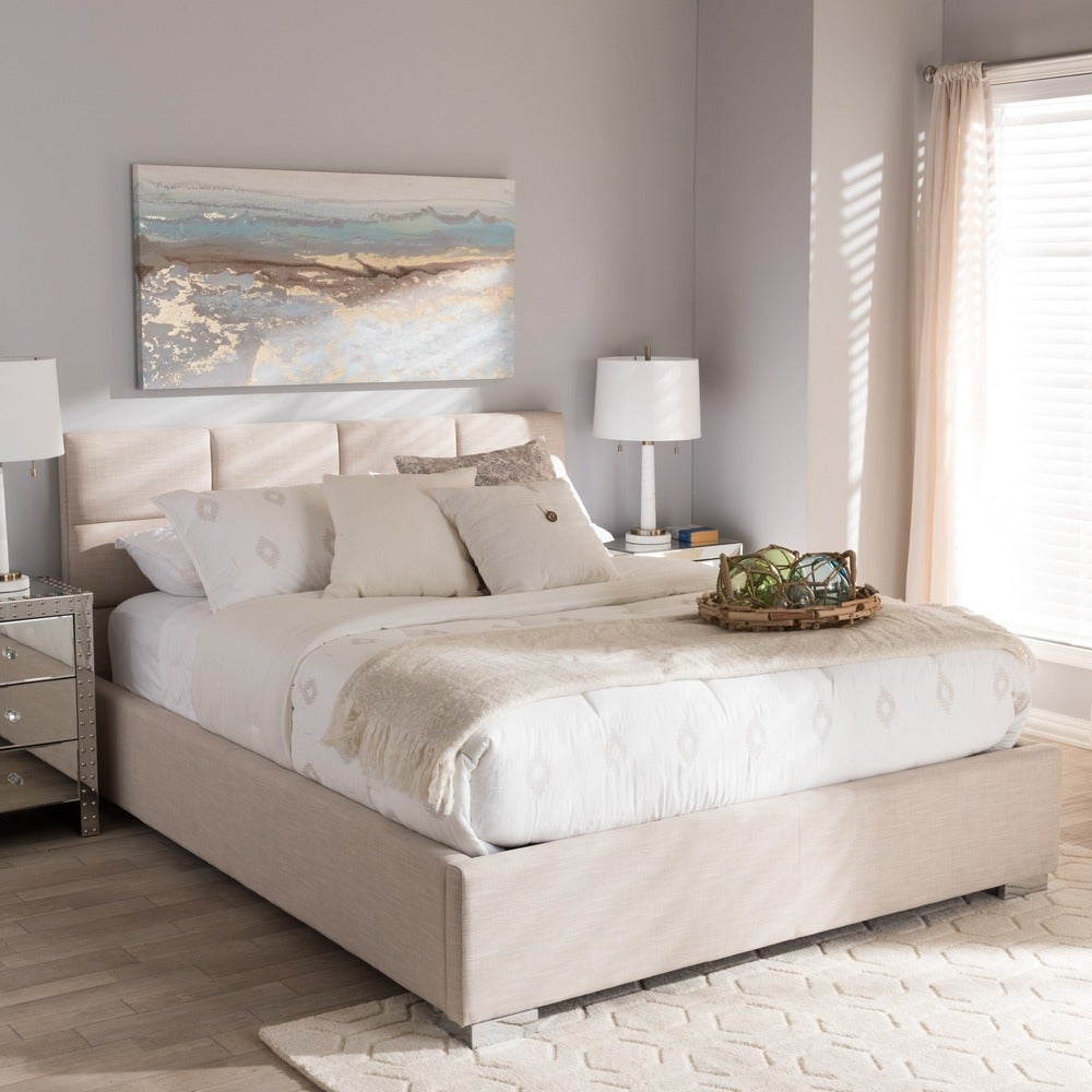 Sophie Contemporary Beige Fabric Upholstered Platform Queen Bed - RoomsandDecor.com