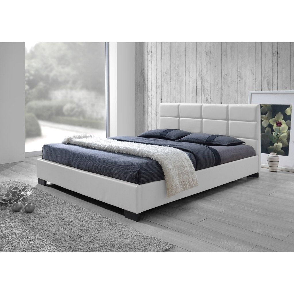 Contemporary White Faux Leather Queen Bed - RoomsandDecor.com