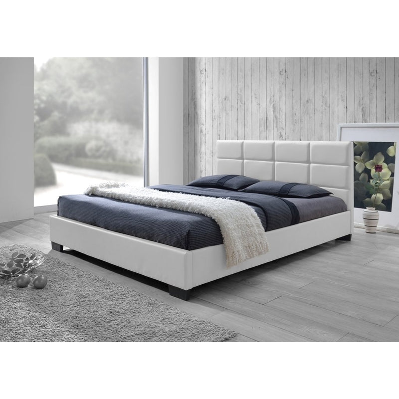 Sophie Contemporary Beige Fabric Upholstered Platform Queen Bed