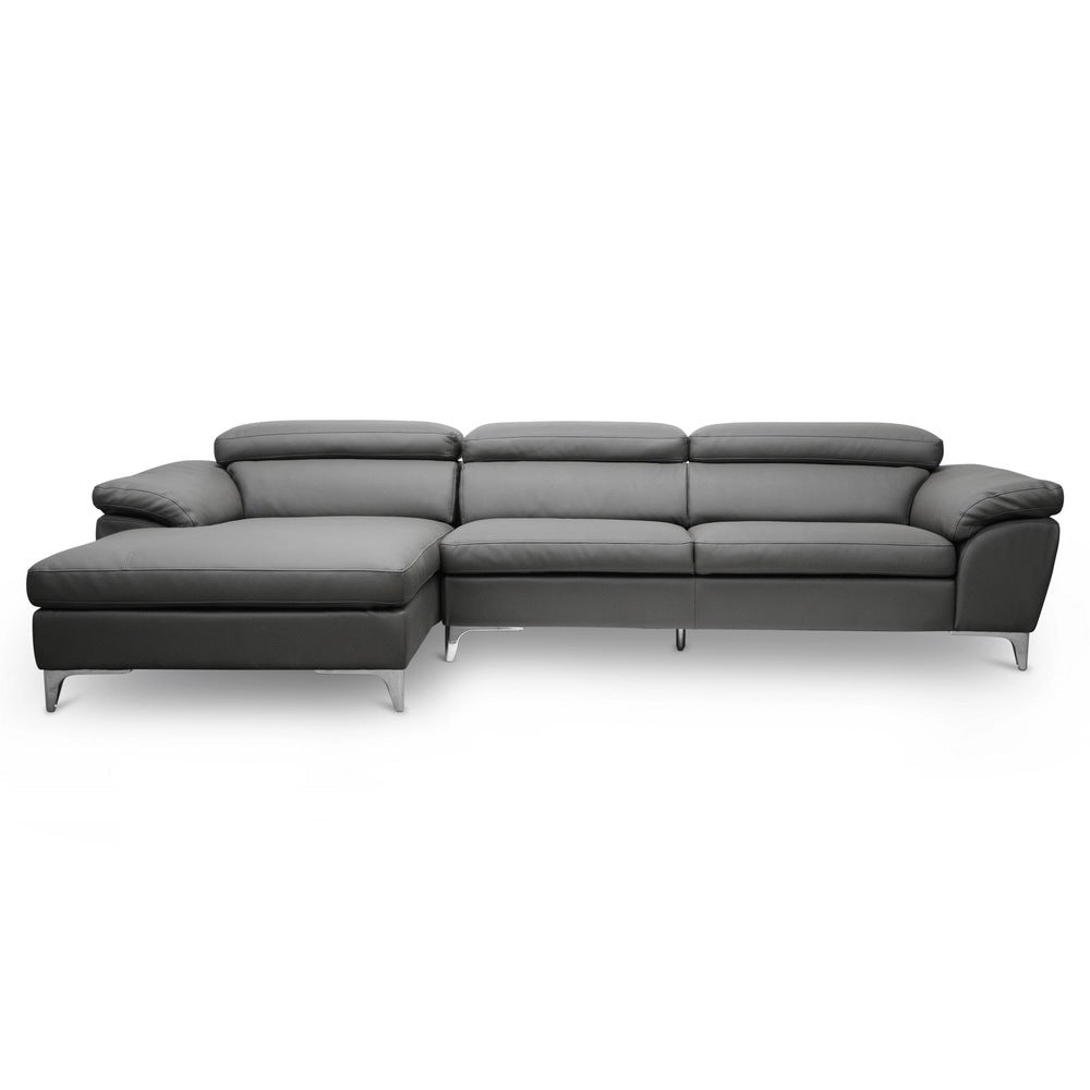 Baxton Studio Voight Gray Modern Sectional Sofa - Left Facing Chaise - RoomsandDecor.com