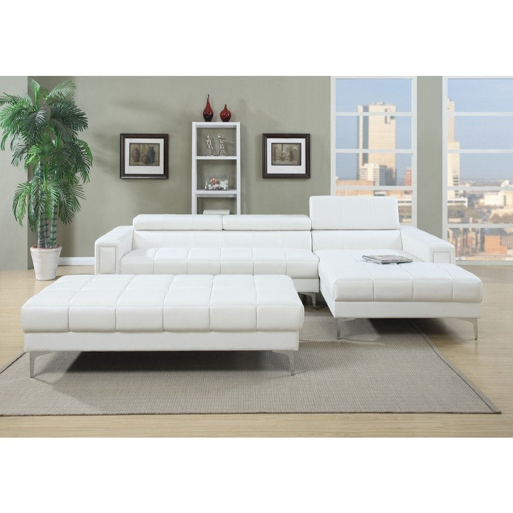 Bonded Leather 2 Piece Sectional Set In White - RoomsandDecor.com