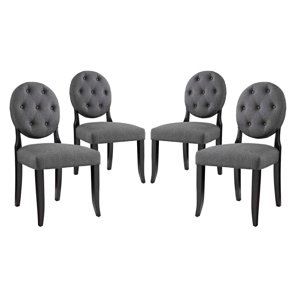 Button Dining Side Chair Upholstered Fabric Set of 4 - Grey