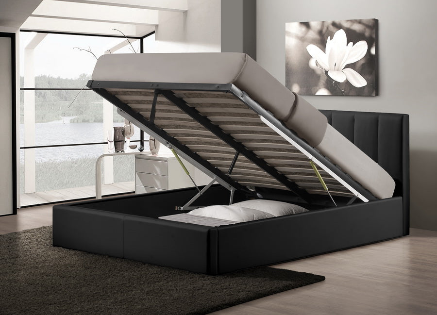 Templemore Contemporary Black Faux Leather Queen Storage Bed - RoomsandDecor.com