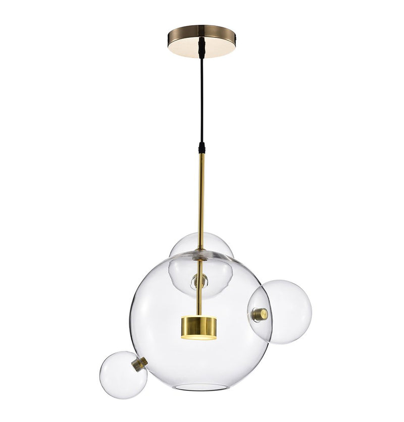 Salome Pendant Lamp - 1 Big & 3 Small Clear Glass Shades