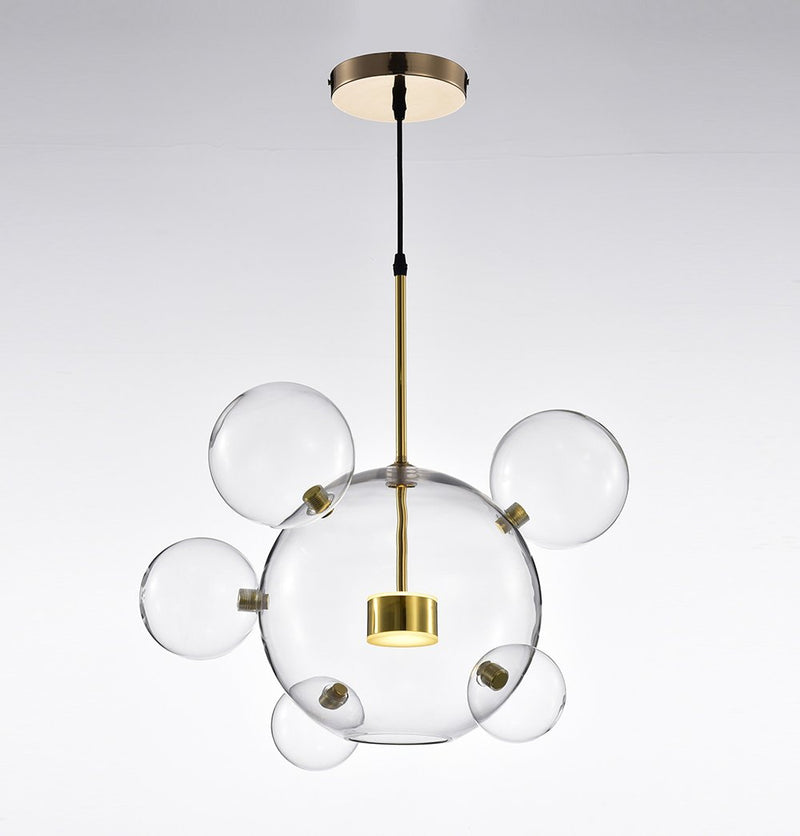 Salome Pendant Lamp - 1 Big & 5 Small Clear Glass Shades