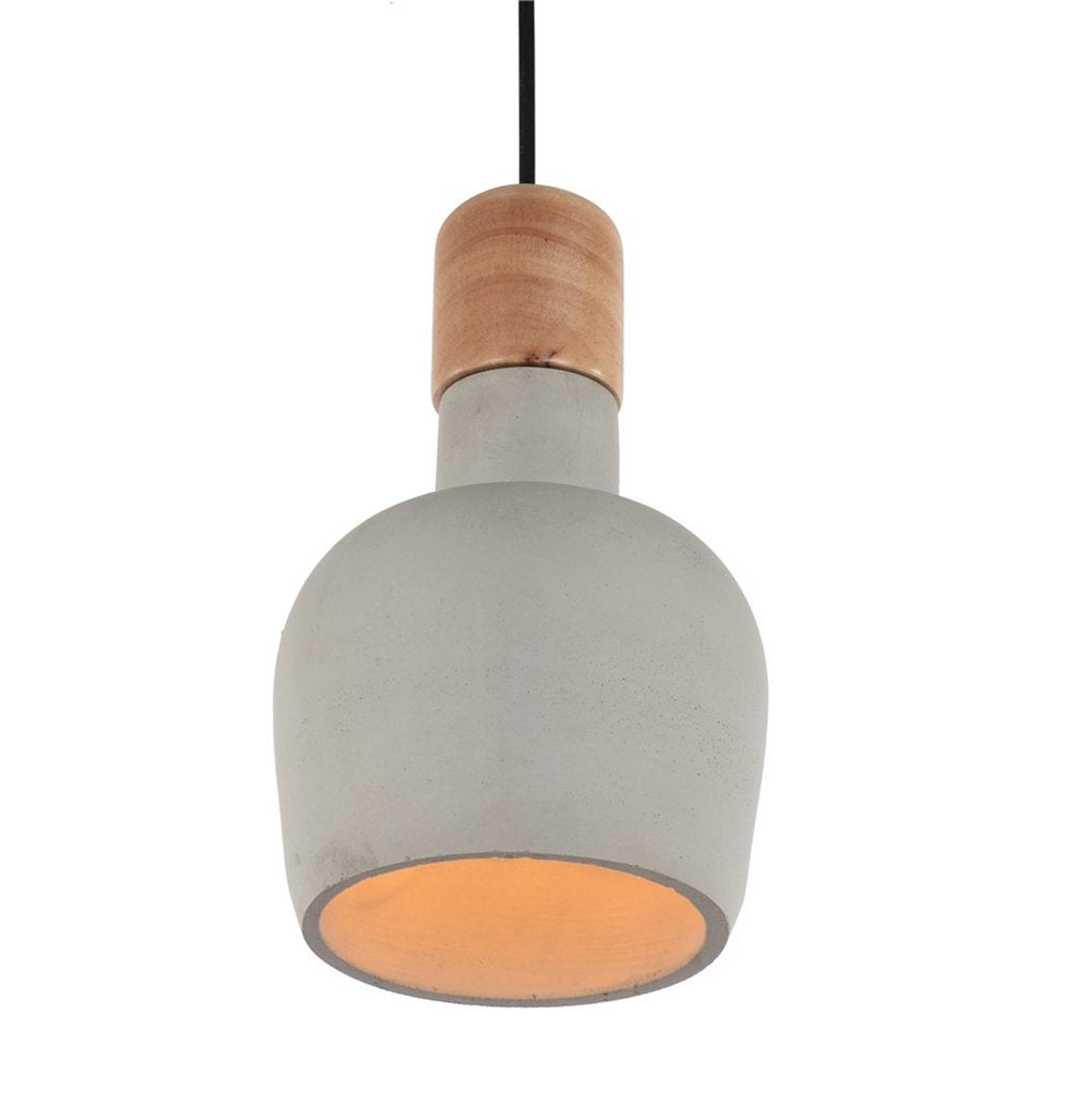 Cement Pendant Lamp with Wooden Natural Top - Ellery
