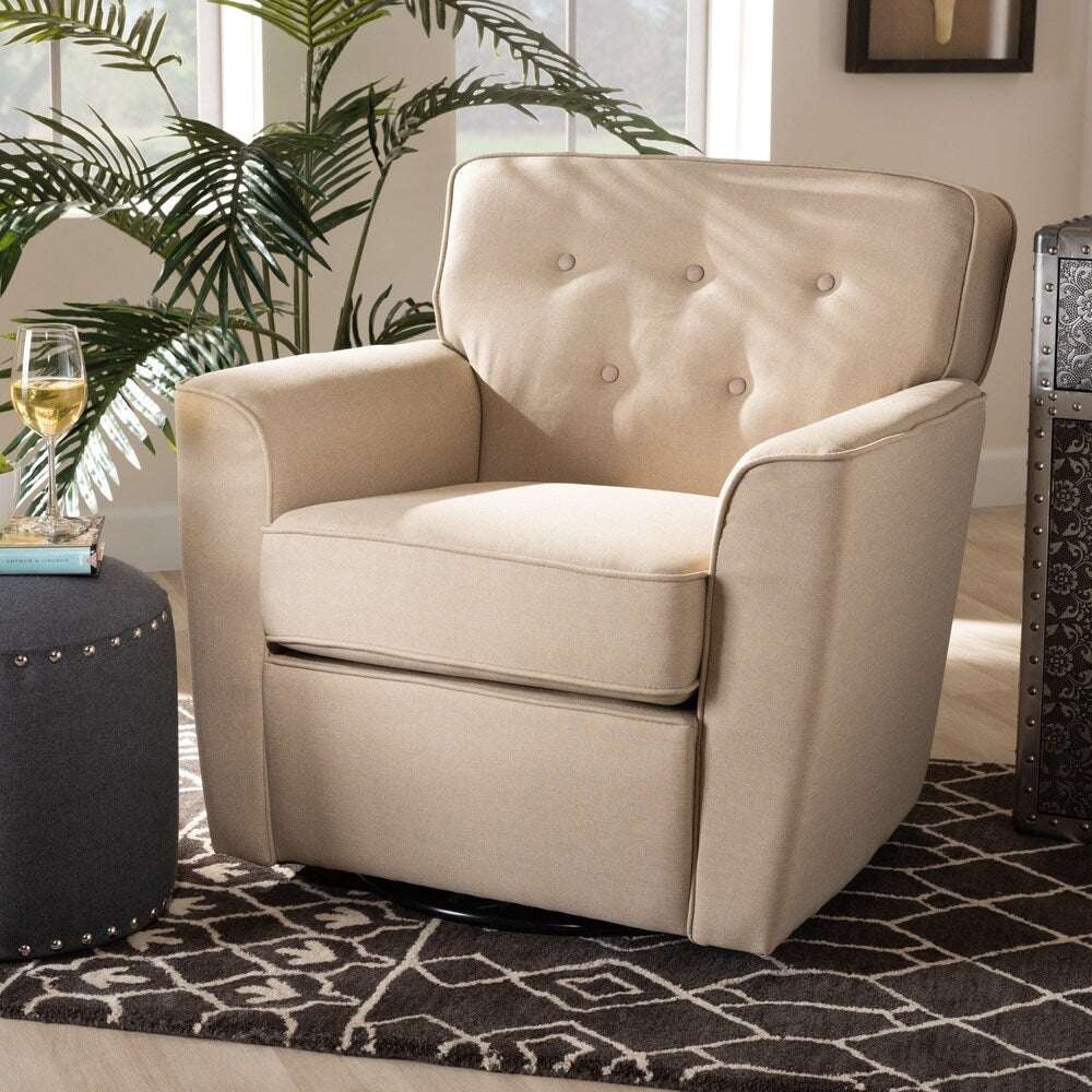 Canberra Modern and Contemporary Upholstered Swivel Armchair - RoomsandDecor.com