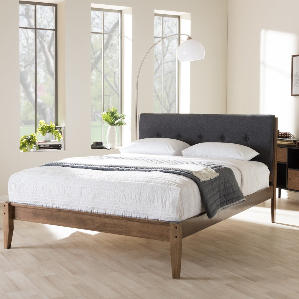Mid-century Modern Grey Fabric Queen Bed - RoomsandDecor.com