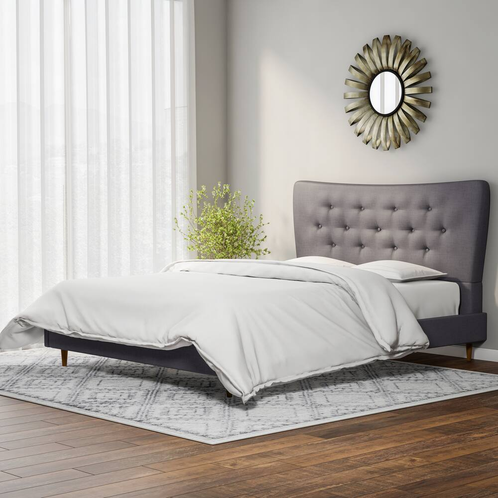 Hermia Mid-century Modern Dark Grey Fabric King Bed - RoomsandDecor.com