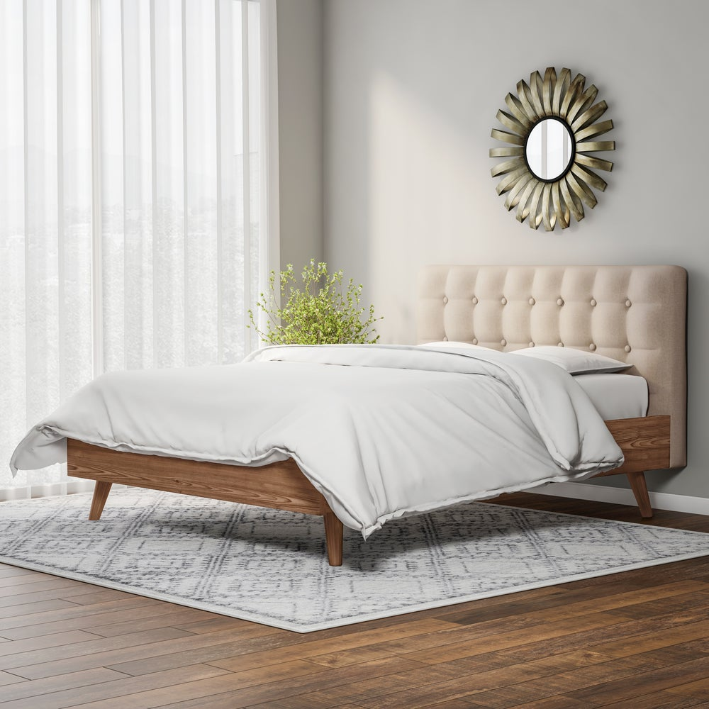 Mid-century Upholstered Walnut Wood Platform Queen Bed - RoomsandDecor.com