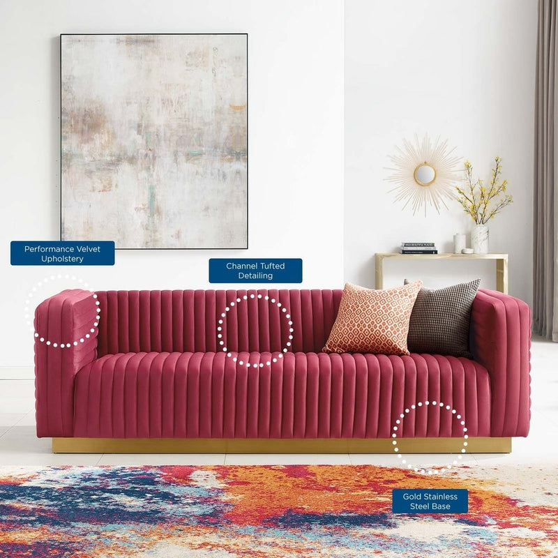 Charisma Channel Tufted Performance Velvet  Sofa
