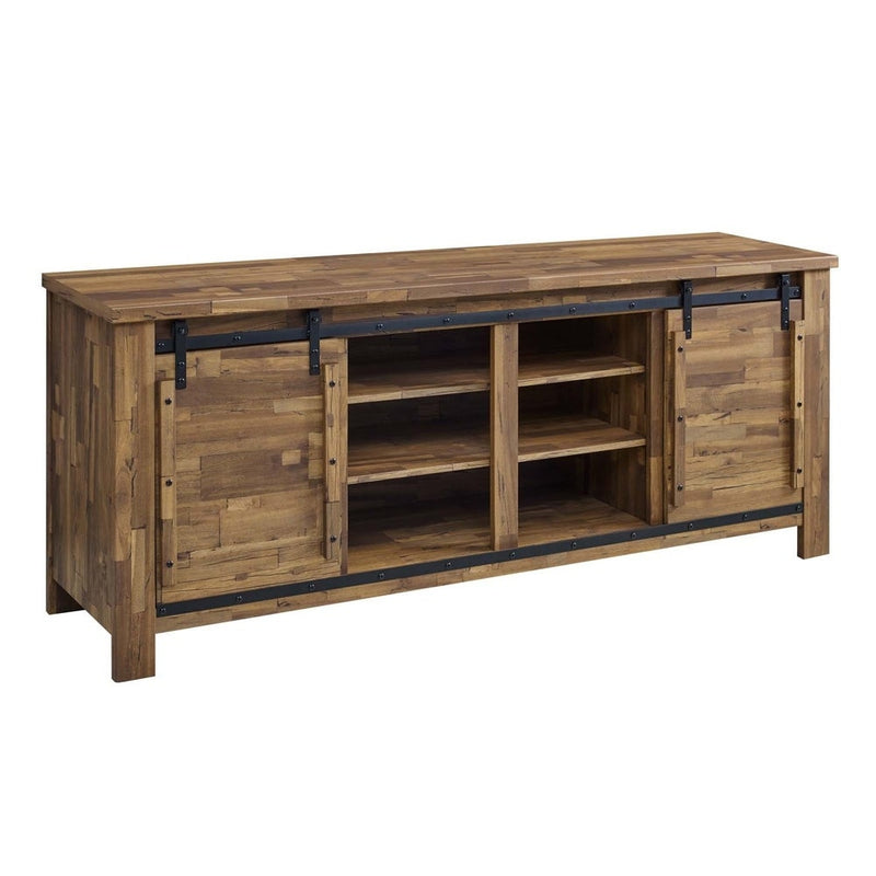 Wooden Media Console With Two Drawers & Three Compartments, Cherry Brown